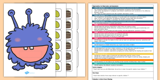Hungry Monster Listening Game EYFS Adult Input Plan Resource Pack