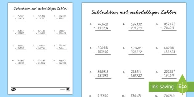 NEW * Subtraktion mit sechsstelligen Zahlen Arbeitsblatt