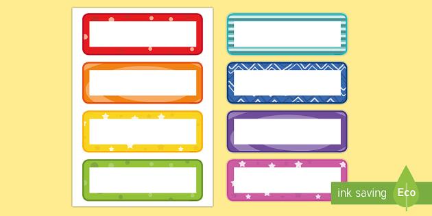 Multicolour Pattern Drawer Peg Name Labels - Editable Drawer Peg Name Labels - labels, signs, name labels, lebels, austrailia, labeles, editble,