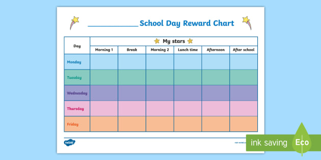 school day reward chart