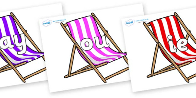 Phase 5 Phonemes on Deck Chairs - Phonemes, phoneme, Phase 5, Phase five, Foundation, Literacy, Letters and Sounds, DfES, display