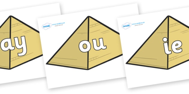 Phase 5 Phonemes on Pyramids - Phonemes, phoneme, Phase 5, Phase five, Foundation, Literacy, Letters and Sounds, DfES, display