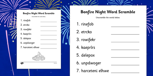 Bonfire Night Word Scramble Sheet - bonfire night, word, scramble, sheet