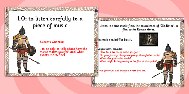 Music from the Gladiator Activity PowerPoint - music, gladiator