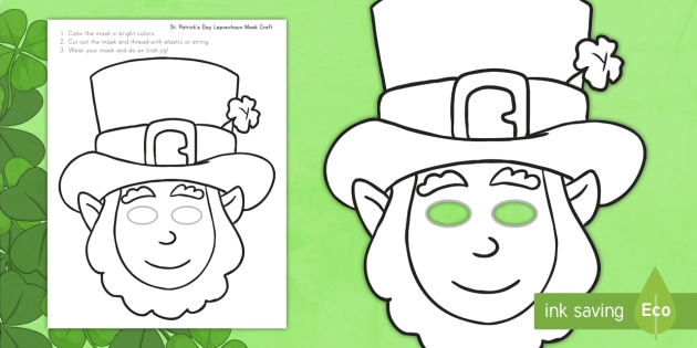 St Patrick S Day Leprechaun Mask Craft St Patrick S Day