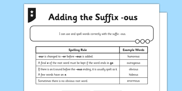 Adding the Suffix -ous Differentiated Worksheet / Worksheet Pack - GPS