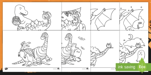 Halloween Dinosaurs Coloring Pages Bat Ghost Vampire