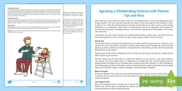 Agreeing a Childminding Contract with Parents Tips and Hints