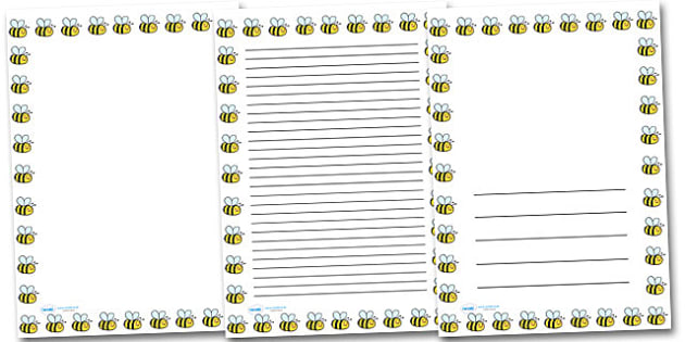 Bee Portrait Page Borders- Portrait Page Borders - Page border, border, writing template, writing aid, writing frame, a4 border, template, templates, landscape