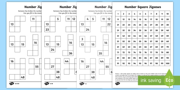 number square jigsaws worksheet worksheets year 2 maths place value. Black Bedroom Furniture Sets. Home Design Ideas