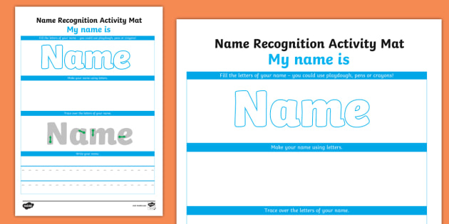 Editable Name Recognition Make Read Write Activity Mat Eyfs
