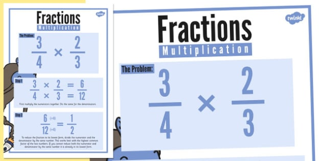 Fractions Multiplication Display Poster - fractions, multiplication, display