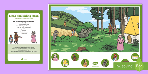 Little Red Riding Hood Can You Find...? Poster and Prompt Card Pack - EYFS, Early Years, Little Red Riding Hood, traditional tales, speaking and listening, CL, Communicat