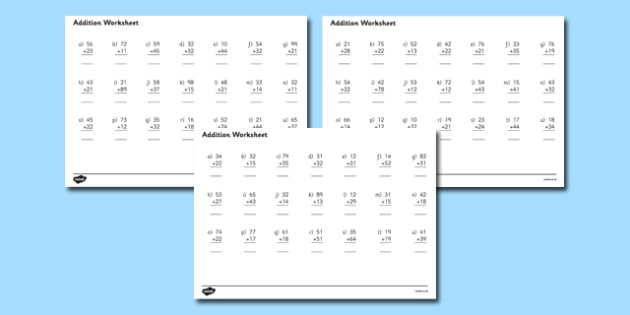 2 Digit Number Addition Worksheets addition worksheets – Adding 2 Digit Numbers Worksheets