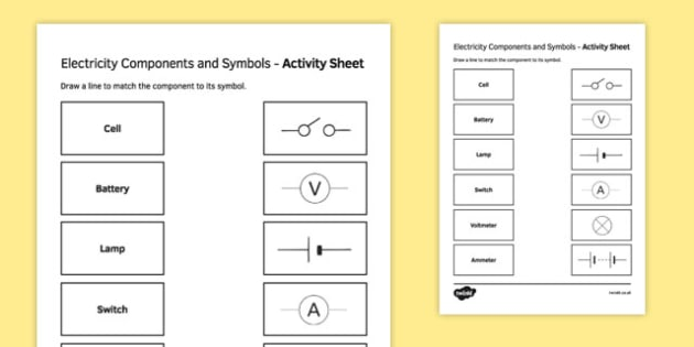 Electricity Components and Symbols Match and Draw