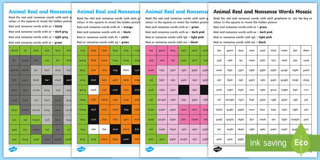 Phase 3 Phonics Animal Mosaics Activity Pack - Phase 3, phonics, letters and sounds, English, KS1, real words, nonsense words, mosaic, seasons, spr