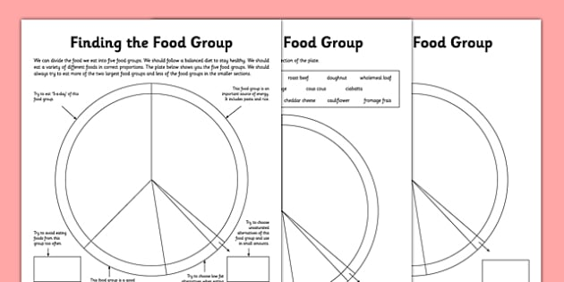 Finding the Food Group Worksheets - food groups, food groups