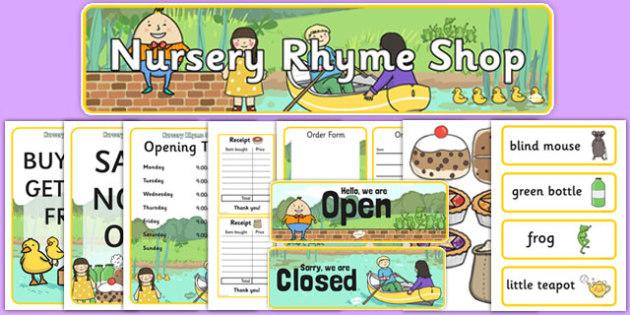 Nursery Rhyme Shop Role Play Pack - nursery rhyme shop, nursery rhyme, rhyme, pack