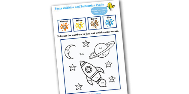 Space Addition and Subtraction Puzzle (0-10) - education, home school, child development, children activities, free, kids, math games, worksheets, number work