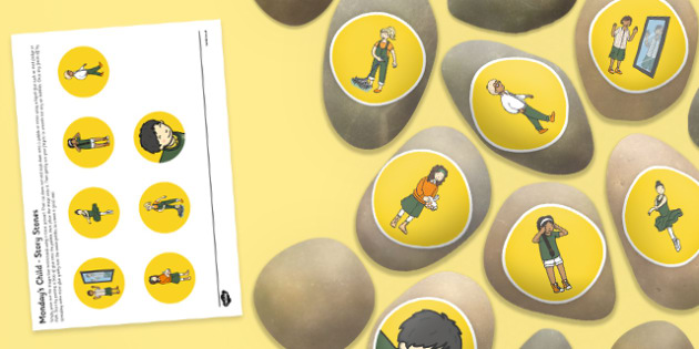 Monday's Child Story Stones Image Cut Outs - Story stones, stone art, painted rocks, Nursery Rhymes, song