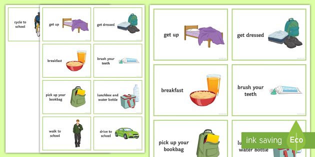 Getting Ready For School Visual Aid Social Routine