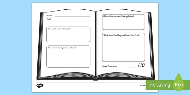 Buchkritik Arbeitsblatt - Buchrezension, Lesen, Lektüre