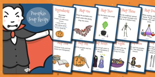 Halloween Pumpkin Soup Recipe Sheets - Halloween, how to make pumpkin soup, pumpkin soup, soup recipe, recipe, recipe card, making soup, display poster, recipe information