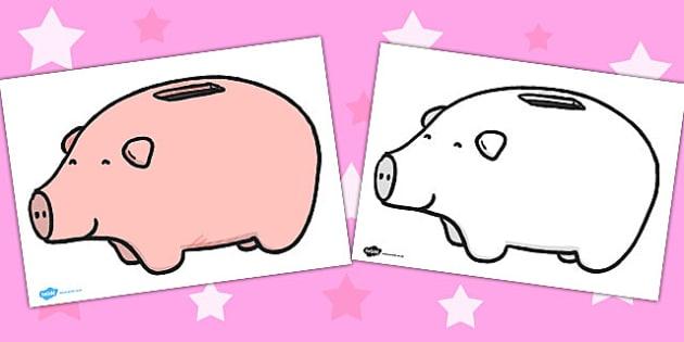 Plain Piggy Bank Activity Sheet - plain, piggy, bank, money, display, poster
