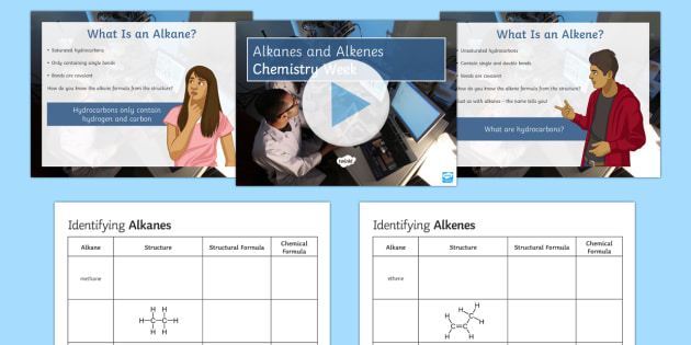 Alkanes and Alkenes Chemistry Week PowerPoint - Chemistry Week, Worksheet, Alkane, Alkene, Bromine Water, Chemical Structure, Chemical Formula