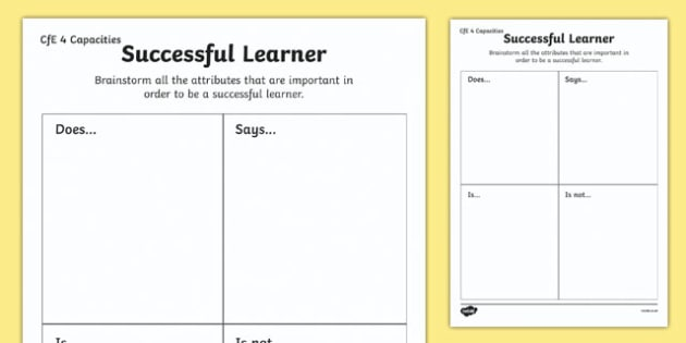 Scottish Curriculum for Excellence Four Capacities Successful Learner Activity Sheet-Scottish, worksheet