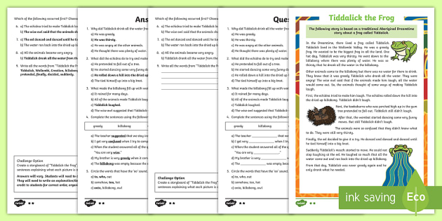 Tiddalick The Frog Differentiated Comprehension Challenge Sheet - Australian Aboriginal Dreamtime Stories, dreamtime, comprehension, differentiated comprehension, rea