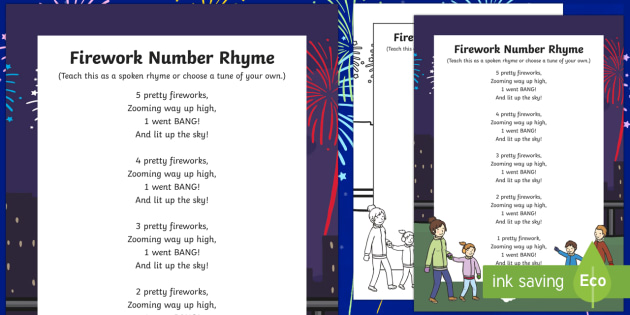 Fireworks Number Rhyme Poster - fireworks, number, rhyme, poster, display