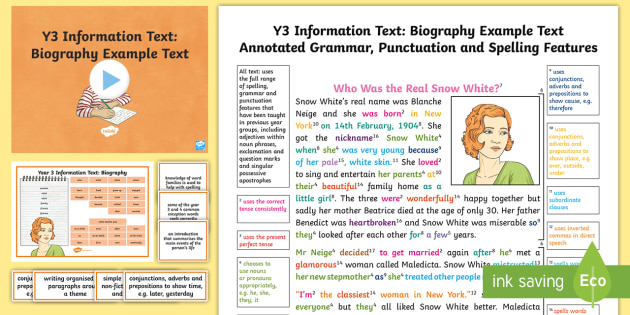 Y Information Texts Biography ModelExample Text  Example
