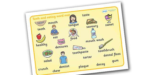 Teeth And Eating Word Mat - teeth, eat, mouth, tongue, eating, tooth, toothpaste, mouthwash, toothbrush, word mat, mat, writing aid, dental, dentures, dental floss, dentist, sweet, savoury, healty, food, use your toothbrush, taste, brushing your teet