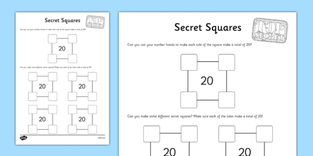 Secret Squares to 20 Activity Sheet - secret squares, 20, activity sheet, activity, secret, squares, worksheet