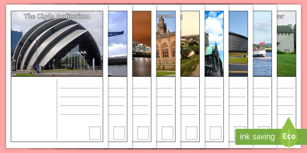 Glasgow Postcards - Scottish Cities, writing, tourist, tourism, creating texts ,Scottish, glasgow, glasgow city sites