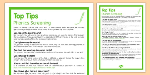 Phonics Screening  Top Tips