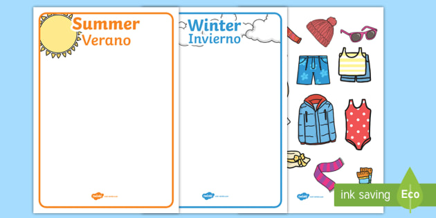 463ed5b8780 Winter and Summer Clothes Sorting Activity English Spanish - winter ...