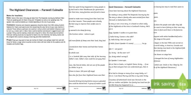 The Highland Clearances – Farewell Culmailie Performance Play Script-Scottish