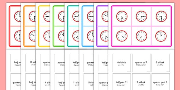 Mixed Time Bingo Romanian Translation - romanian, Mixed time bingo, time game, Time resource, Time vocabulary, clock face, Oclock, half past, quarter past, quarter to, shapes spaces measures