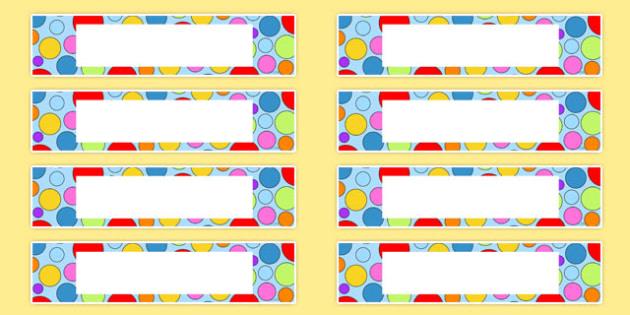 Multicoloured Polka Dot Drawer Peg Name Labels - labels, polka dot
