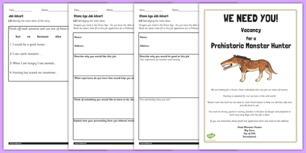 Free Stone Age Job Advert Worksheets To Support Teaching On Ug Ug