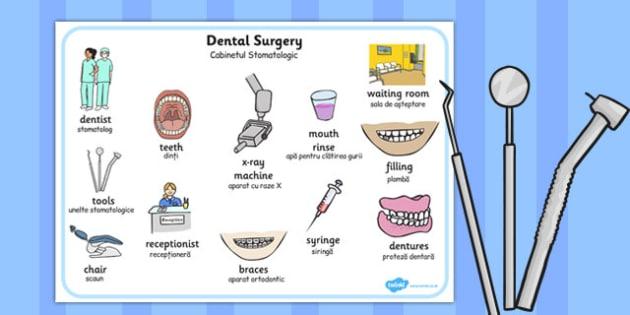 Dentist Surgery Word Mat Romanian Translation - romanian, dentist surgery