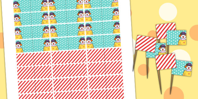 Circus Themed Birthday Party Toothpick Flags - parties, role play