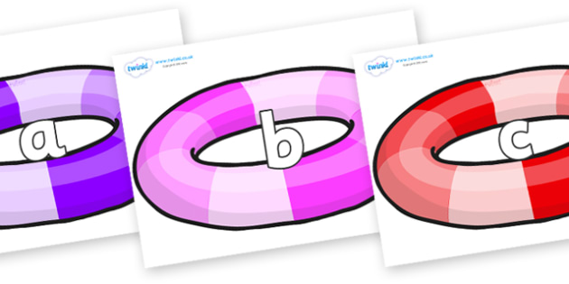 Phase 2 Phonemes on Inflatable Rings - Phonemes, phoneme, Phase 2, Phase two, Foundation, Literacy, Letters and Sounds, DfES, display