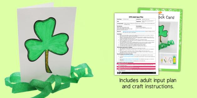 Shamrock Card Craft EYFS Adult Input Plan and Resource Pack - crafts, activities