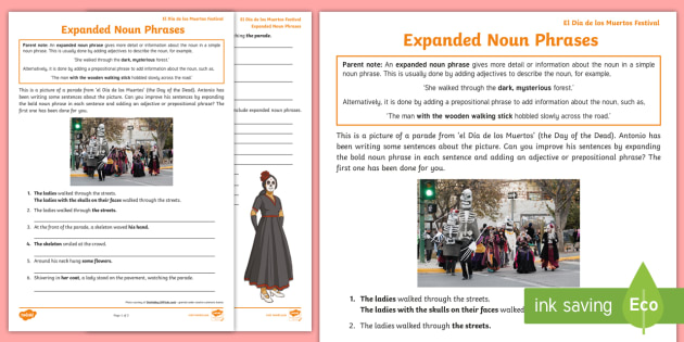 Day of the Dead: Write Expanded Noun Phrases Worksheet