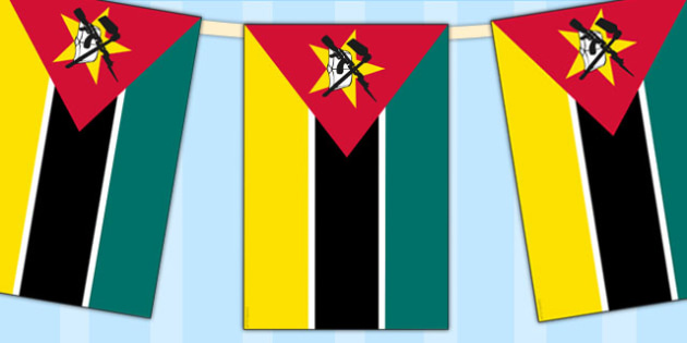 Mozambique Flag Display Bunting - countries, geography, display