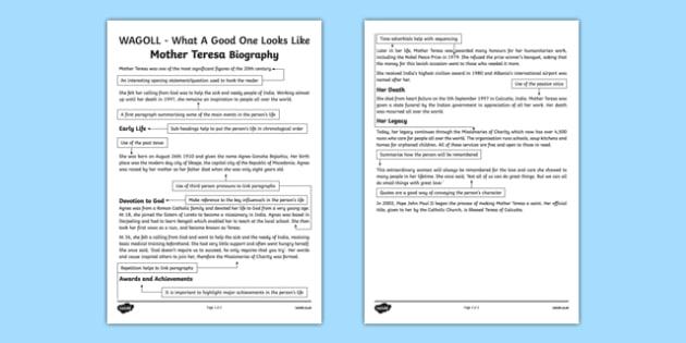 WAGOLL Mother Teresa Biography Fact File