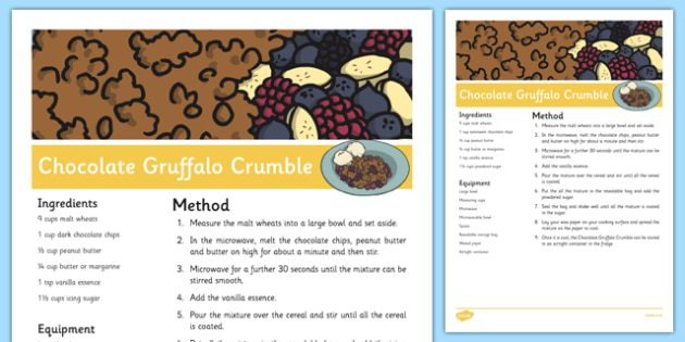 Chocolate Gruffalo Crumble Recipe to Support Teaching on The Gruffalo - EYFS, cooking, baking